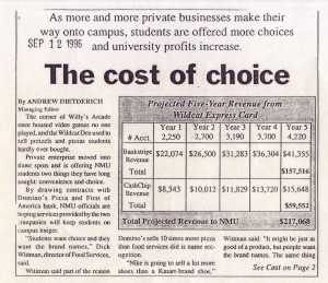 The Cost of Choice: Effects of More Private Businesses Setting Up Shop at NMU (Sept. 12, 1996)