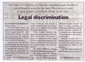 Legal Discrimination: End of Affirmative Action in California Could Impact NMU (Nov. 7, 1996)