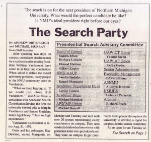 Search Party: Northern Michigan University Looks for Best Next President (Sept. 19, 1996)