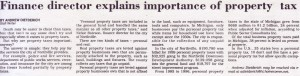 City of Northville Finance Director Explains Importance of Property Tax (March 9, 2000)