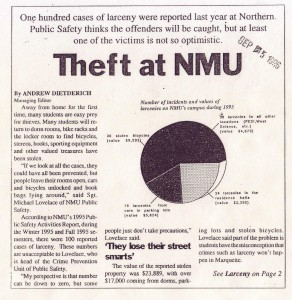 Theft at NMU: Larcency Cases on the Rise at University Sept. 5, 1996
