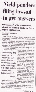 Nield Ponders Filing Lawsuit to Get Answers (Sept. 15, 1999)