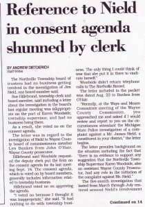 Reference to Nield in Northville Township Consent Agenda Shunned by Clerk (Sept. 30, 1999)