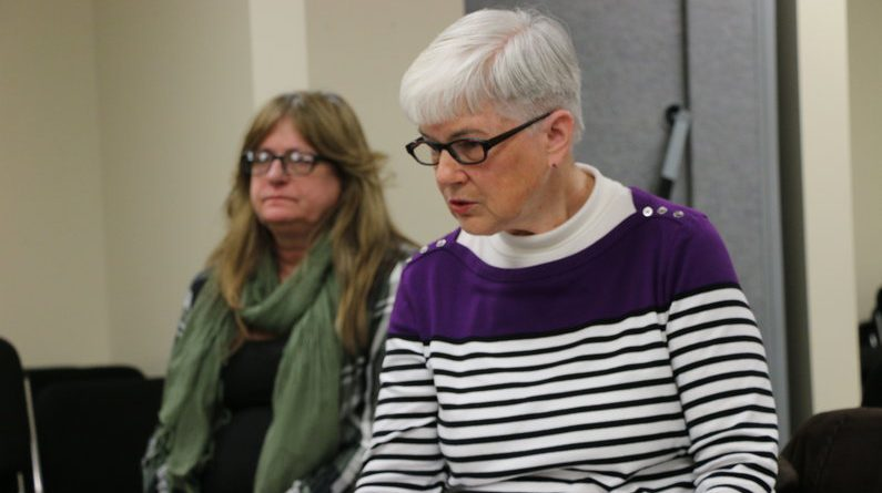 Joy Boots (right) talks about why she filed a recall petition against Mayfield Township Supervisor Dianna Ireland (left).